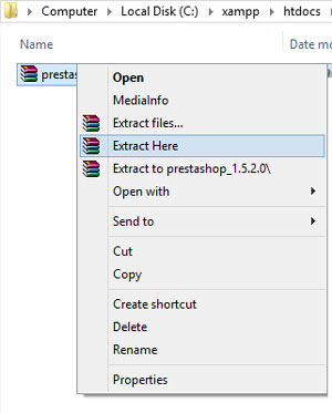 extract file prestashop