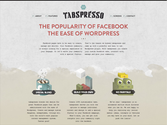 tabspresso textured website design inspiration